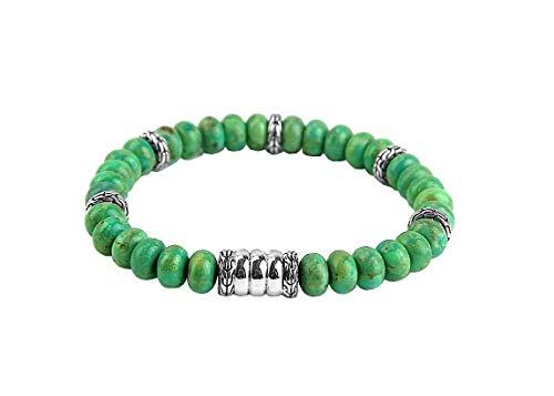 HJ John Hardy ST. Silver BATU BEDEG Mohave Turquoise Stretchable Bracelet 145B