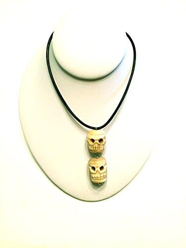 Leather Skull Pendant (Tibetan Bone Skulls, Vintage Man's Pendant/Necklace, Black Leather Cord)