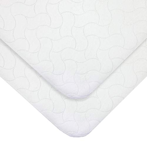 American Baby Company 2 Pack Waterproof Embossed Quilt-Like Flat Crib Protective Pad Cover for Boys and Girls, White, 28' X 52'