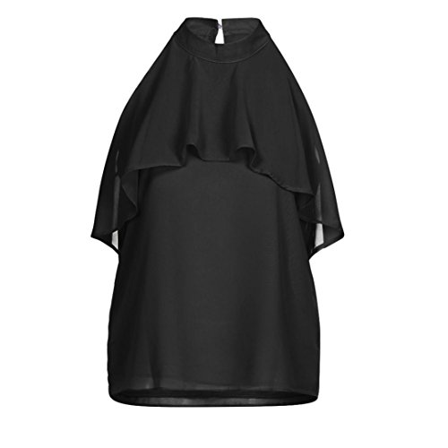 Pure Color Adeshop smanicata Women Estate Solid Chic Canotta Chiffon Ruffles Turtleneck Nero Halter shirt Shoulder Flare 2018 Camicetta Top Slim Shirt Nude T 6O16dqxwnr