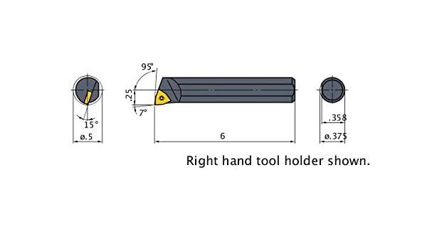 0.500 Minimum Cutting Dia. 0.375 Shank Dia Heavy Metal Shank 95/° Cutting Angle Left Mitsubishi Materials M-SWLOL-062 M-SWLO Series Screw Clamp Boring Bar with 0.250 IC Trigon Insert