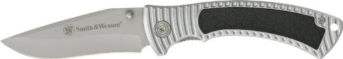 Bullseye Wesson - Smith & Wesson CH0017 Bullseye Folding Linerlock with Stainless Steel Clip Point Blade and Silver Aluminum Instertable Handle