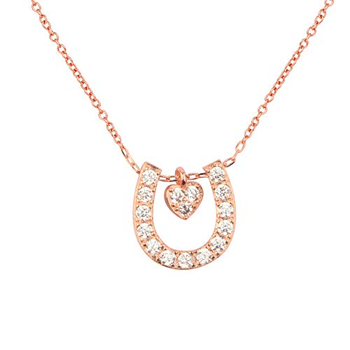 (QIIER Horseshoe Charm Necklace Rose Gold Lucky Horseshoe with Love Heart Pendant Necklace Girlfriend Gift Daughter (Rose Gold))