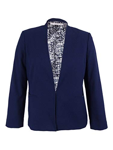 Tahari Women's Textured Jacquard Collarless Blazer 14, Navy