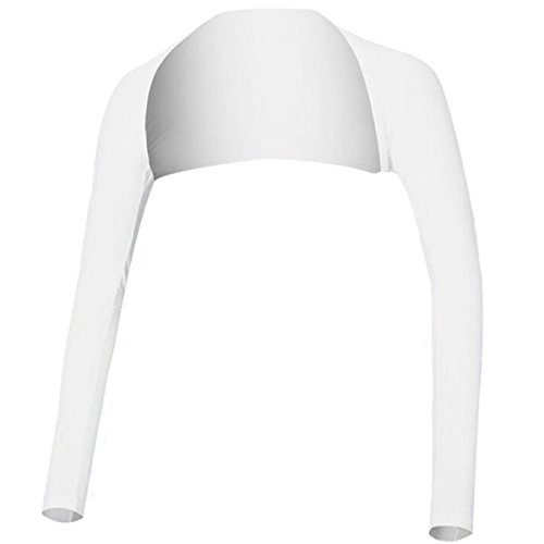 MING & HUA Women Golf Cooling Shawl - Premium Lycra, Ultra Anti-UV(99.9%),Super Comfortable & Breathable - Ladies Arm Sleeve Sun Protection Shrug for Sports and Outdoor Activities - M&H (L, White)