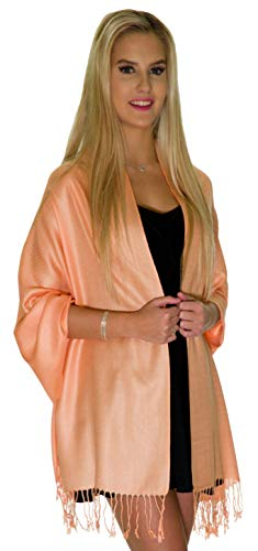 (Pashmina Shawls and Wraps - Large Scarfs for Women - Party Bridal Long Fashion Shawl Wrap with Fringe by ShineGlitz (Peach))