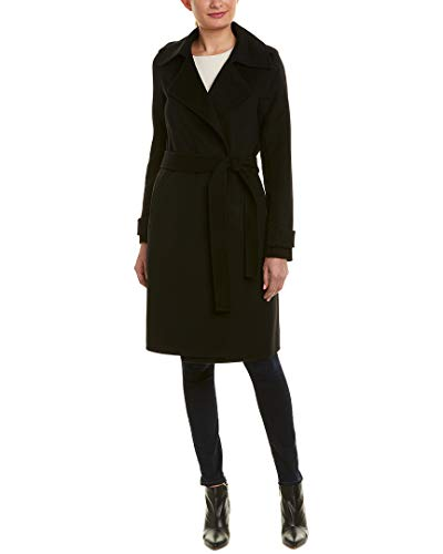 Coat Wool Via Belted (Badgley Mischka Womens Double Face Wool-Blend Coat, M)