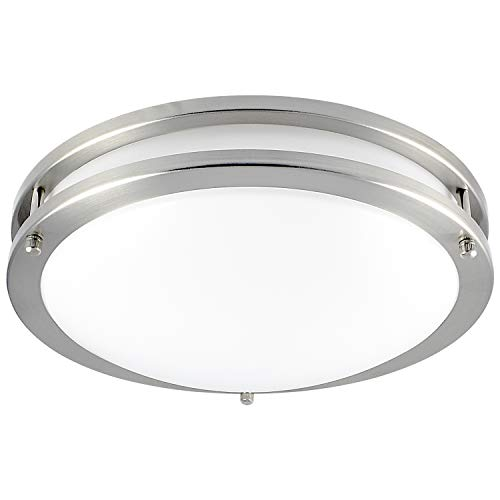 (Luxrite LED Flush Mount Ceiling Light, 12 Inch, Dimmable, 3000K Soft White, 1380 Lumens, 18W Ceiling Light Fixture, Energy Star & ETL - Perfect for Kitchen, Bathroom, Entryway, and Closet)