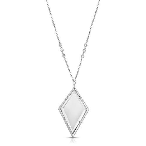 (Moderne Monocle Necklace Magnifier Pendant Necklace-Emmeline Silver)
