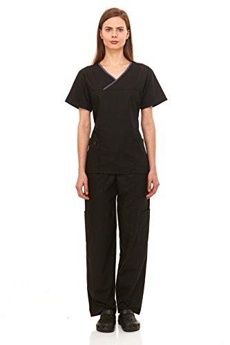 Denice-Womens-Medical-Uniforms-Contrast-Crossover-Nurses-Scrub-Set-943