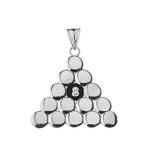 Fine Sterling Silver 8 Ball Pool Triangle -