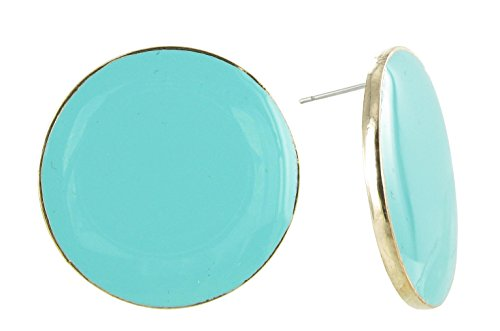 Large Round Coin Shaped Stud Earrings in Turquoise Enamel and Gold Plating