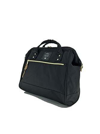 Anello 2 Way Shoulder Handle Polyester Canvas Waterproof Boston Bag (Black)