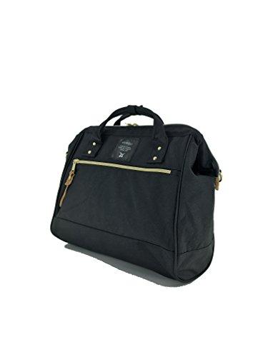 - Anello 2 Way Shoulder Handle Polyester Canvas Waterproof Boston Bag (Black)