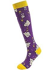 Unisex Halloween Compression Socks Knee-high Skull/Owl Print Sports Socks Running Cycling Outdoor Funny Socks
