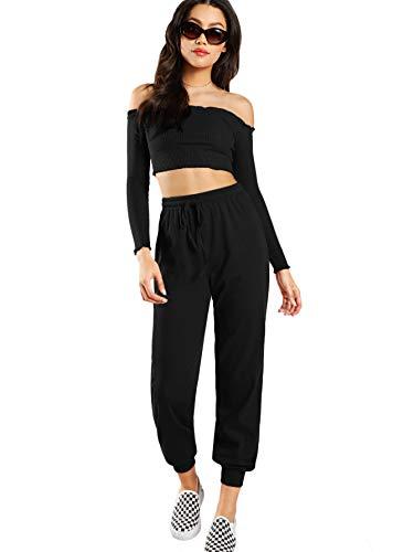 Verdusa Women's 2 Piece Outfits Tube Crop Top & Drawstring Terry Pants Set Black L