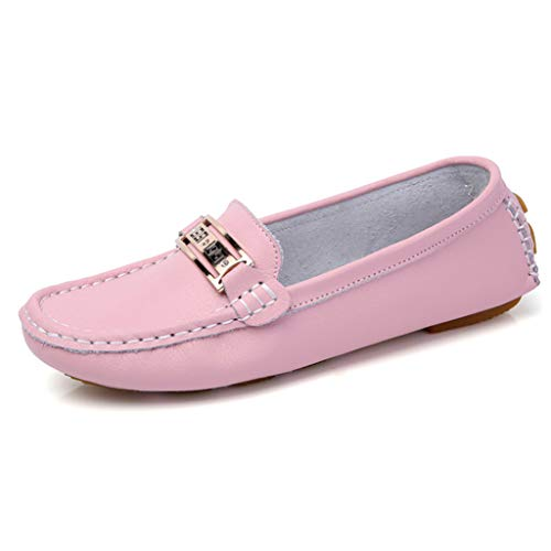 (Slip On Loafers for Women Brandon Chain Decorated Non Slip Rubber Sole Casual Moccasins Walking Flat Penny Shoes Pink)