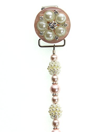Elegant Pink and Ivory Vintage Flower Pearls and Beads Keepsake Infant Girl Pacifier Clip 8 Inch (A6P) by Crystal Dream