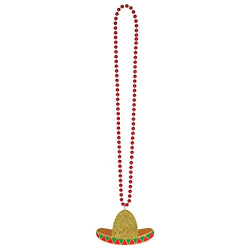 Cinco De Mayo Fiesta Red Plastic Sombrero Beaded