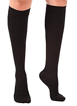 Opaque Medical Compression Socks - Firm Graduated Support Knee-Hi, 20-30mmHg – Made in the USA – Absolute Support - Size: XL Color: Black
