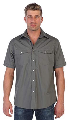 Gioberti Mens Casual Western Solid Short Sleeve Shirt with Pearl Snaps, Gray, 3X - Shirt 3 Button Casual