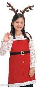NWT RED SANTA CHILD APRON FAUX FUR EMBROIDERED BELT BUTTONS HOLIDAY BAKING -