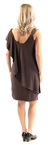 Dress Betsy Ruffled Brown B Short Rhinestone 1463 Womens amp; 119 B 4 Sleeve Adam v0xrqwapv