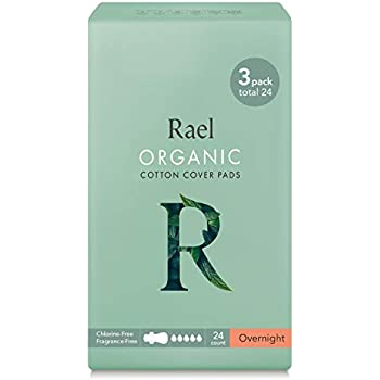 Rael Certified Organic Cotton Menstrual Overnight Pads, Thin Natural Sanitary Napkins with Wings (24 Total), Pack of 3