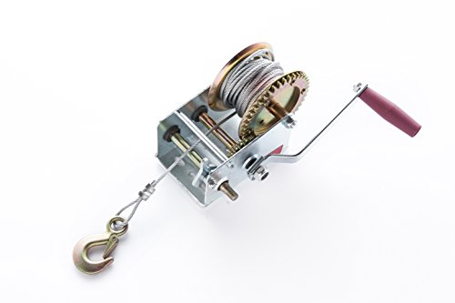 2000lbs Hand Winch Manual Operated with Steel Wire ATV Boat Trailer ()