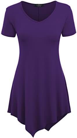 MBJ Womens Short Sleeve Various Hem Tunic Top - Made in USA