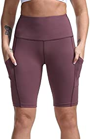 Dilanni Women's Yoga Shorts with Pockets- High Waisted Workout Shorts for Gym B