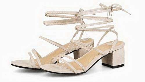 Lace Sandals Up VogueZone009 Imitated Toe Open Heels Kitten Suede Women Solid CCALP015270 Beige 0nnv1R