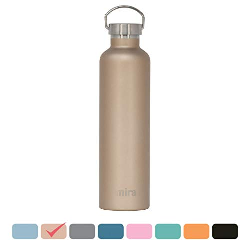 Oz 34 Bottle Sports (MIRA Alpine Stainless Steel Vacuum Insulated Water Bottle with 2 Lids | 34 oz (1000 ml) | Champagne)