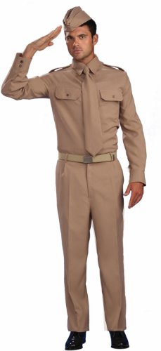 World War 2 Private Costume (Lets Party By Forum Novelties Inc World War II Private Adult Costume / Tan - Size One - Size Fits Most)