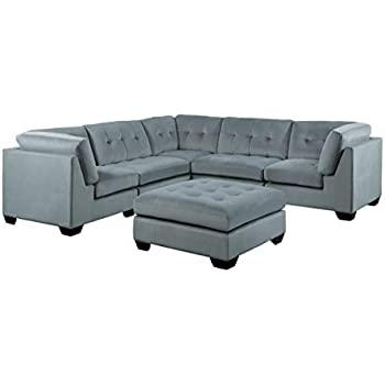 Homelegance Savarin 6 Piece Sectional Sofa And Ottoman In Tufted Accent  Fabric Cover, Gray