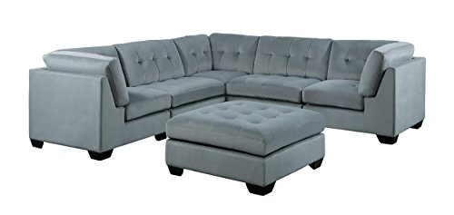 Left 6 Piece Living Room (Homelegance Savarin 6 Piece Sectional Sofa and Ottoman in Tufted Accent Fabric Cover, Gray)