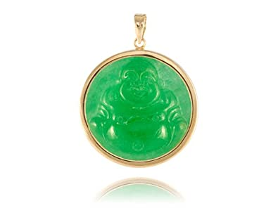 Amazon green jade laughing buddha disc pendant 14k gold jewelry green jade laughing buddha disc pendant 14k gold aloadofball Image collections