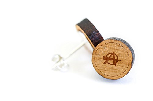 - WOODEN ACCESSORIES COMPANY Wooden Stud Earrings With Anarchy Laser Engraved Design - Premium American Cherry Wood Hiker Earrings - 1 cm Diameter