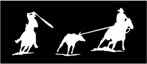(White Vinyl Decal - Team Roping - Horse - Rope Rodeo Riding Fun Sticker, Die Cut Decal Bumper Sticker for Windows, Cars, Trucks, Laptops, Etc.)
