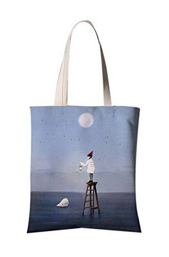 Japanische Art-Illustration Leinentasche Reise-Einkaufstasche Ein Mädchen, das eine Lampe hält