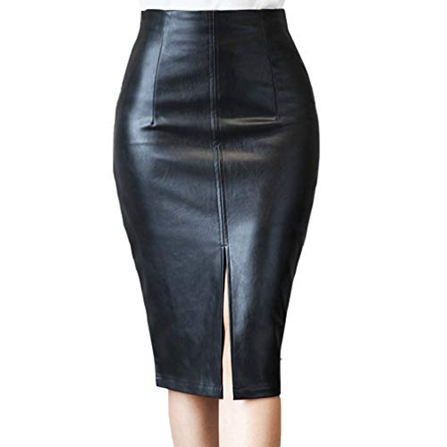 1db712055 HRMSIUKB Women's Black Faux Leather Pencil Skirt with Slit High Waist Knee  Length Slim Skirt at Amazon Women's Clothing store: