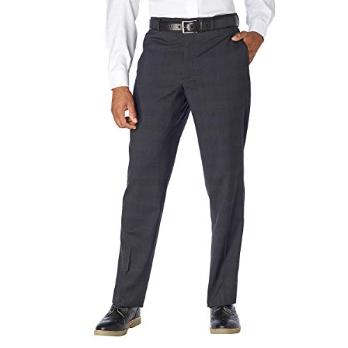 Kirkland Signature Men's 100% Wool Flat Front Dress Pants, Charcoal,32 x 34