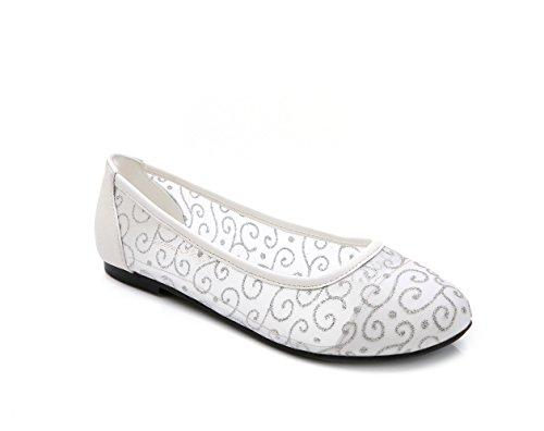 Chaussures De Femmes Blanches De Lacets Slip En Dentelle Sur Découpe Ballerines Taille 10