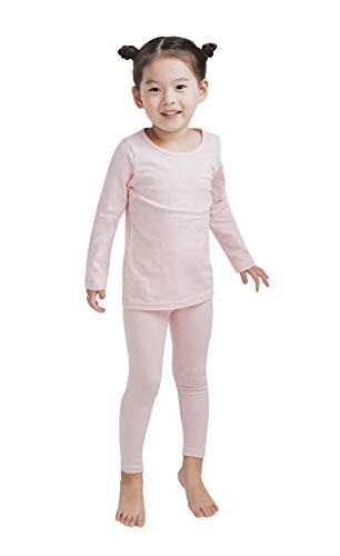 Modal Cotton Thermal Long Underwear Set Breathing Base Layer Long John Pajama for Boy Girl Toddler (2~3 Year, Pink), 7