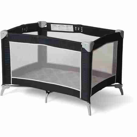 Foundations Sleep 'N Store Portable Playard Graphite Mod Plaid Crib