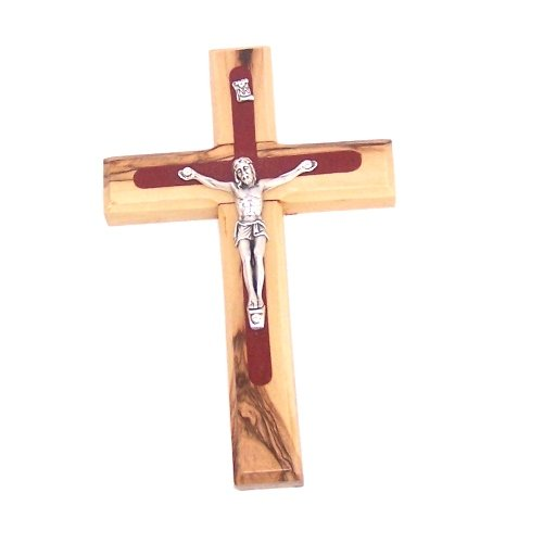 Holy Land Market Two tone olive wood Crucifix with Pewter grade Corpus - 14cm - 5.5 inches with Certificate and Lord's prayer card ()