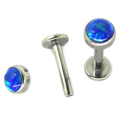 Newkeepsr 16g 3 8 10mm G23 Titanium Internal Threaded Royal Blue Synthetic Opal Ball Top Labret Lip Monroe Tragus Helix Earring Stud