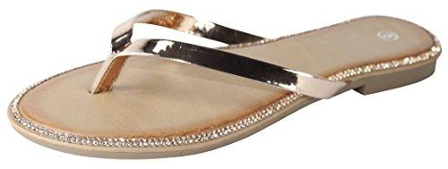 - Cambridge Select Women's Crystal Rhinestone Thong Flip-Flop Slip-On Flat Sandal (7.5 B(M) US, Rose Gold)