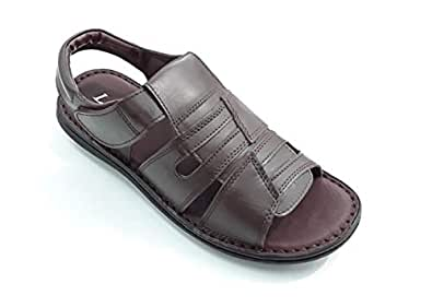 LEMEX Brown Active leather Sandal for Men