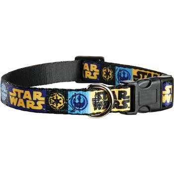 "STAR WARS Logo Adjustable Dog Collar, For Necks 14""-20"""